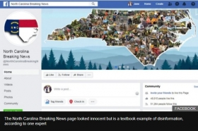 North Carolina Facebook page labelled fake news